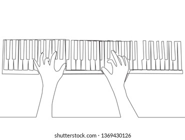 Single continuous line drawing of young happy pianist playing keyboard of grand piano on music concert orchestra from top view. Musician artist performance concept one line draw design illustration