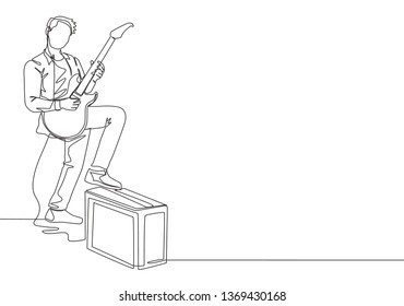 Single continuous line drawing of young happy male guitarist playing electric guitar while step on sound amplifier. Musician artist performance concept one line draw design illustration