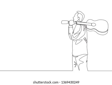 Single continuous line drawing of young happy male guitarist walking while carrying acoustic guitar oh his shoulder. Musician artist performance concept one line draw design illustration