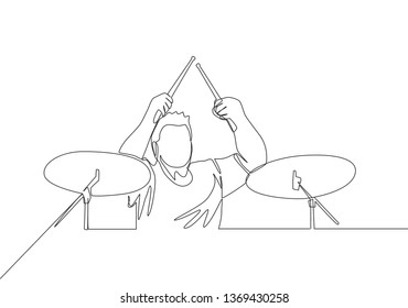 Single continuous line drawing of young happy male drummer performing to play drum on music concert stage. Musician artist performance concept one line draw design illustration