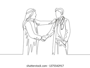 Single continuous line drawing of young muslim businessman handshake his personal doctor. Arab middle east businessmen with shmagh, kandura, thawb, robe cloth. One line draw design illustration