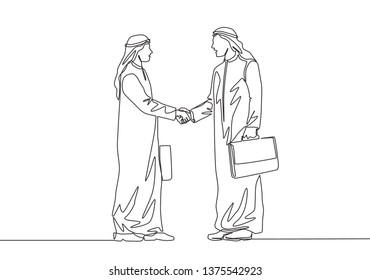 Single continuous line drawing of young muslim business man shake hand his business colleague. Arab middle east businessmen with shmagh, kandura, thawb, robe cloth. One line draw design illustration