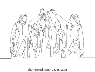 Single continuous line drawing of young muslim business man raising hands to the air together. Arab middle east businessmen with shmagh, kandura, thawb, robe cloth. One line draw design illustration