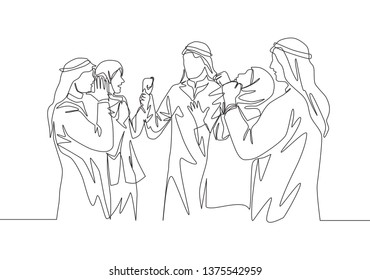 Single continuous line drawing of young muslim business people celebrate their success. Arab middle east businessmen with shmagh, kandura, thawb, robe cloth. One line draw design illustration