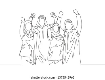 Single continuous line drawing of young muslim business people celebrate the project deal. Arab middle east businessmen with shmagh, kandura, thawb, robe cloth. One line draw design illustration