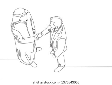 Single continuous line drawing of young muslim business owner shake hands with his partner. Arab middle east businessmen with shmagh, kandura, thawb, robe cloth. One line draw design illustration