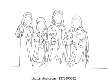 Single continuous line drawing of young muslim businessman and businesswoman giving thumbs up gestures. Arab middle east cloth shmagh, kandura, thawb, robe. One line draw design illustration