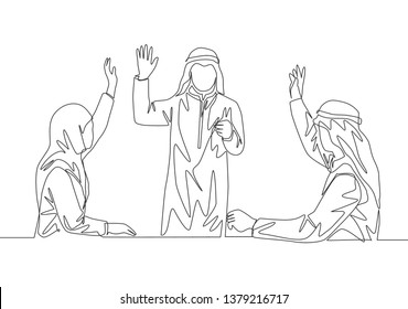 Single continuous line drawing of young male and female muslim company founder vote to choose new company leader. Arab middle east cloth shmagh, kandura, thawb, robe. One line draw design illustration