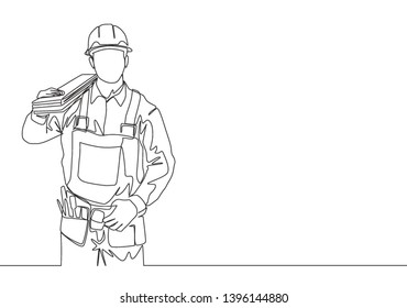 Single continuous line drawing of young handsome lumberjack on uniform carrying stack of wooden boards. Building construction service concept one line draw design illustration