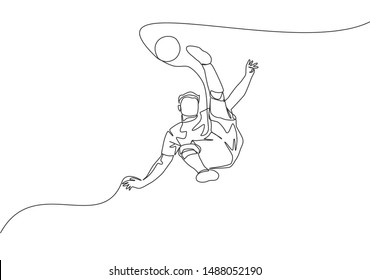 Single continuous line drawing of young talented football player shooting the ball with bicycle kick technique. Soccer match sports concept. One line draw design vector illustration