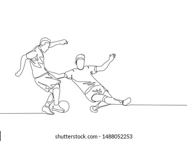 Single continuous line drawing of young energetic football player sliding opponent player when he wants to dribbling pass him. Soccer match sports concept. One line draw design vector illustration