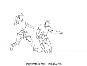 Single continuous line drawing of young energetic football player dribbling pass opponent player and running to the rival area. Soccer match sports concept. One line draw design vector illustration