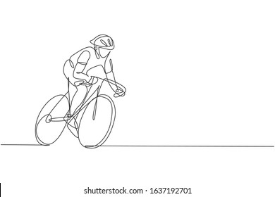 Single continuous line drawing of young agile man cyclist train to pedal cycling fast. Sport lifestyle concept. Trendy one line draw design vector illustration graphic for cycling race promotion media