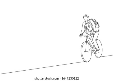 Single continuous line drawing young professional businessman riding bicycle to his company. Bike to work, eco friendly transportation concept. Trendy one line draw design vector illustration graphic