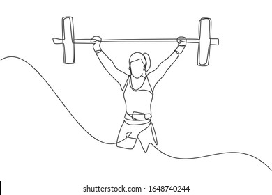 Single continuous line drawing of young strong weightlifter woman preparing for barbell workout in gym. Weight lifting training concept. Trendy one line draw graphic design vector illustration