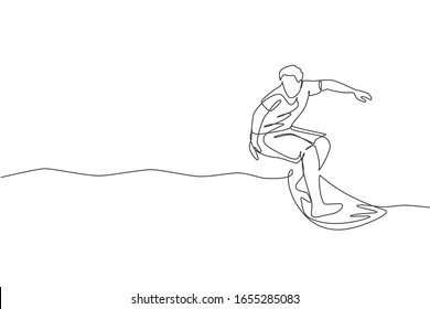 Single continuous line drawing young professional surfer in action riding the waves on blue ocean. Extreme watersport concept. Summer vacation. Trendy one line draw design vector graphic illustration