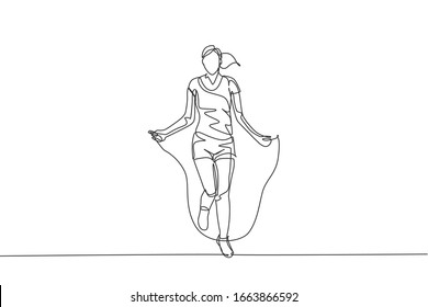 Single continuous line drawing young sportive woman training with jump skipping rope in sport gymnasium club center. Fitness stretching concept. Trendy one line draw design graphic vector illustration