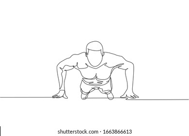 Single continuous line drawing of young sportive man training push up in sport gymnasium club center, front view. Fitness stretching concept. Trendy one line draw graphic design vector illustration