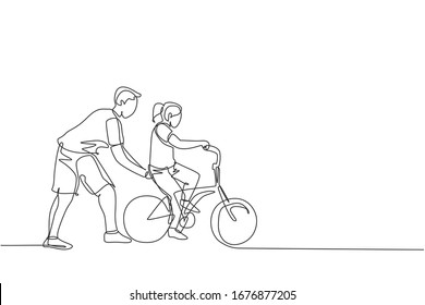 Single continuous line drawing of young kids girl learning ride bicycle with father at outdoor park. Parenthood lesson. Family time concept. Trendy one line draw graphic design vector illustration