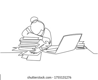 Single continuous line drawing of young tired female employee sleeping on the work desk with laptop and pile of papers. Work fatigue at the office concept one line draw design vector illustration
