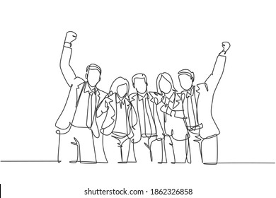 Single continuous line drawing of young happy male and female managers celebrating their job promotion together. Business teamwork celebration concept one line draw design graphic vector illustration
