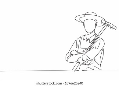 Single continuous line drawing of young male farmer cross arm on chest while holding farm fork. Professional work job occupation. Minimalism concept one line draw graphic design vector illustration