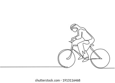 Single continuous line drawing of young Arabian businessman riding bicycle go to the office. Sporty professional worker. Minimalism concept dynamic one line draw graphic design vector illustration