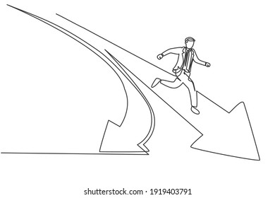 Single continuous line drawing of young business man running into branch path forward arrow . Professional businessman. Minimalism concept dynamic one line draw graphic design vector illustration