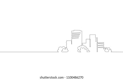 Single continuous one line art city building construction. Architecture house urban apartment cityscape concept design sketch outline drawing vector illustration
