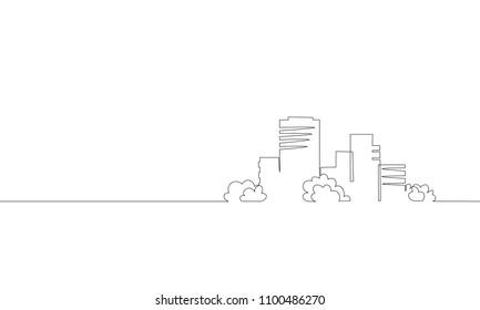 Single continuous one line art city building construction. Architecture house urban apartment cityscape concept design sketch outline drawing vector illustration