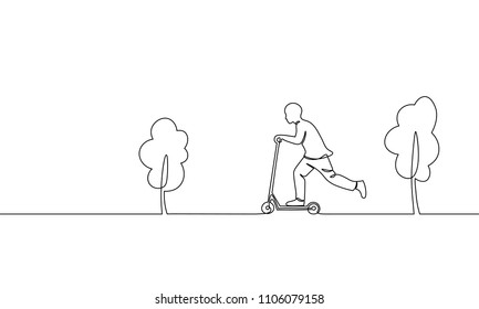 Single continuous one line art boy riding scooter. Kids sport activity hobby holiday school recreation fun concept childhood outdoor park trees design sketch outline drawing vector illustration