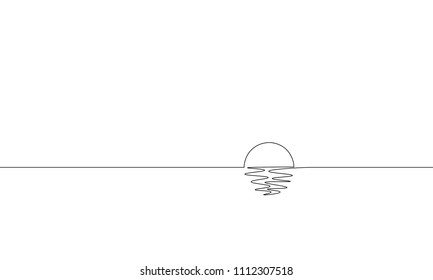 Single continuous one line art sunny ocean view. Sea voyage sunrise holiday tropical luxury journey sunset concept design sketch outline drawing vector illustration