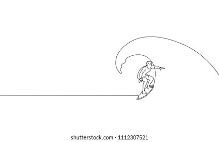 Single continuous one line art surfer vacation sea wave. Active sport summer holiday tropical luxury journey surfboard concept design sketch surfing outline drawing vector illustration