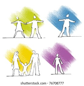 Single, couple, family - people icons, simple freehand linear drawings, colorful