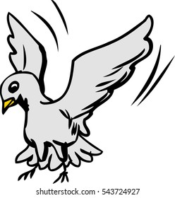 Single cute cartoon dove flapping wings as it lands over white background