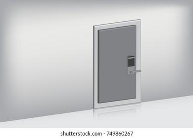 Single door with complete set on oblique view, Indoor concept, Vector, Illustration