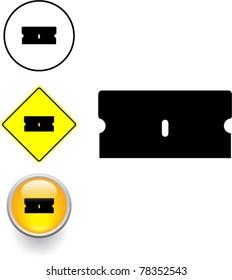 single edge razor blade symbol sign and button