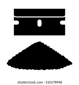 Single edged razor blade with a pile of cocaine or coke flat vector icon for apps and websites