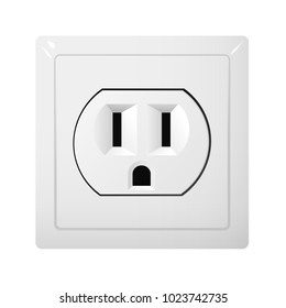 Single electrical socket Type B. Power plug vector illustration. Realistic receptacle from USA.