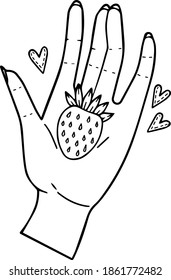 Single element for design, clipart. Cute cartoon strawberry in hand. Good for postcards, patches, stickers, advertisements. Scandinavian. For children. Line, contour, vector, isolated.