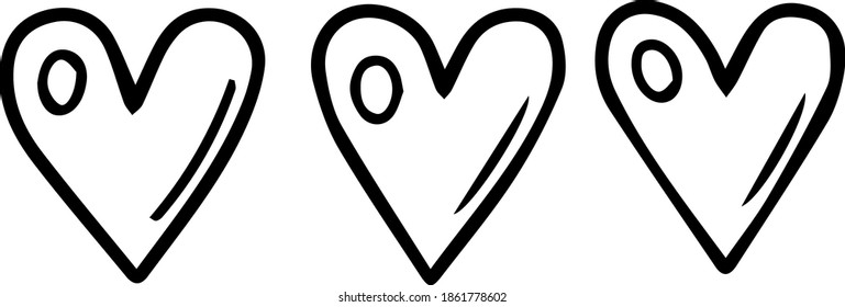 Single element for design, clipart. Three cute cartoon hearts. The 14th of February. Good for postcards, patches, stickers, advertisements. Line, contour, vector, Scandinavian. For children.