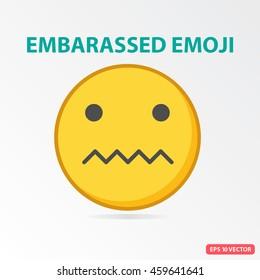Single Embarassed emoji. Isolated vector illustration on white background.