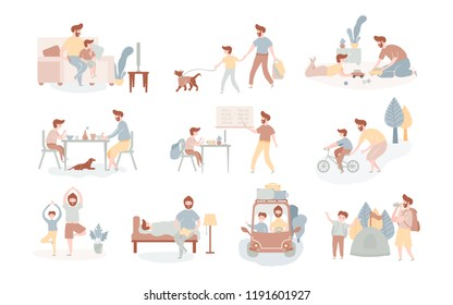 Single european father and son spending time together eating, playing, walking with dog, going trip by car on camping, watching TV doing school lessons yoga riding bike reading book. Vector flat style