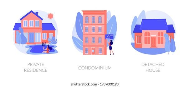 Single family home abstract concept vector illustration set. Private residence, condominium, detached house, land ownership, real estate market, stand-alone household, appartment abstract metaphor.
