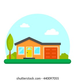 Single family house home. Simple vector illustration