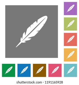 Single feather flat icons on simple color square backgrounds