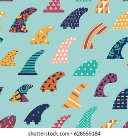 Single fin surfing seamless pattern in vector