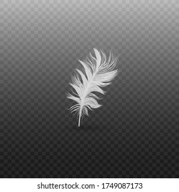 Single fluffy white feather falling or hovering upright realistic style, vector illustration isolated on black transparent background. One light soft bird feather standing or floating vertically