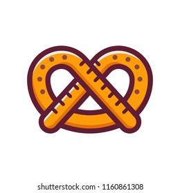 Single German pretzel icon. Traditional Oktoberfest snack in line art style. Logotype template.