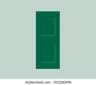 Single green window sash made of wood.